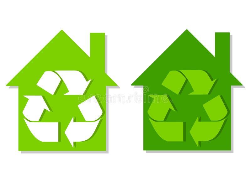 Le vert de Chambres réutilisent des symboles illustration stock