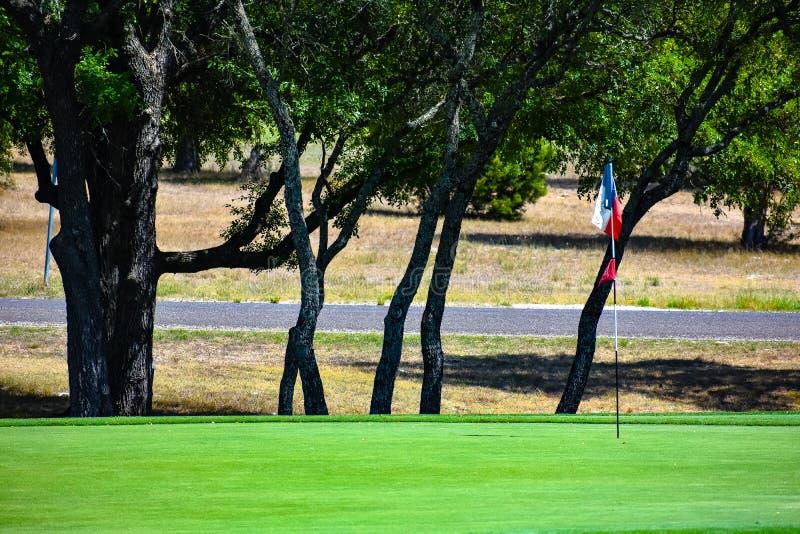 Le vert de golf dans le Texas central a garni des arbres avec un drapeau lonestar du Texas comme drapeau de golf image stock