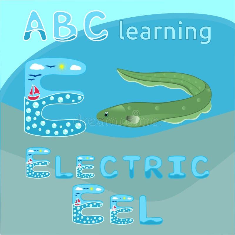 Le vert de poissons d'anguille électrique a repéré le personnage de dessin animé de poissons de serpent sur l'animal blanc d'océa illustration de vecteur