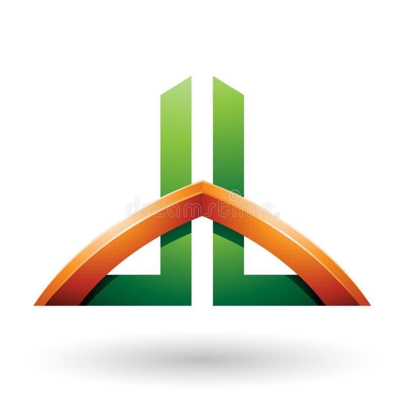 Le vert et l'orange ont jeté un pont sur les lettres comme un gratte-ciel de D et de B d'isolement sur un fond blanc illustration libre de droits