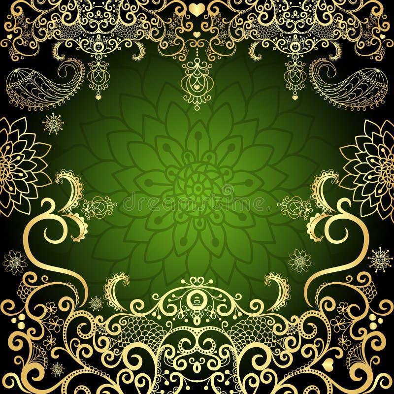 cadre floral de cru de Vert-or illustration libre de droits