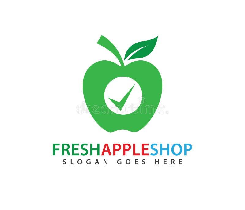 Le vert frais a certifié la conception de logo de vecteur de fruit de pomme illustration de vecteur