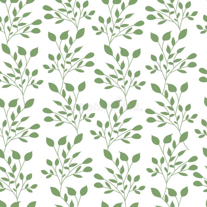 Le vert laisse à modèle sans couture le papier peint plat de feuille de nature de calibre de vecteur illustration de vecteur