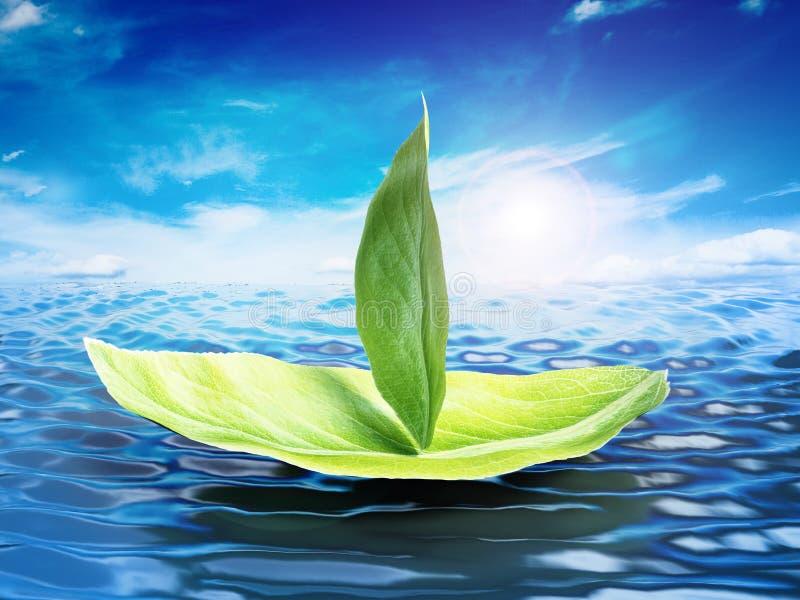 Le vert laisse former un bateau flottant sur le niveau de la mer illustration 3D illustration de vecteur