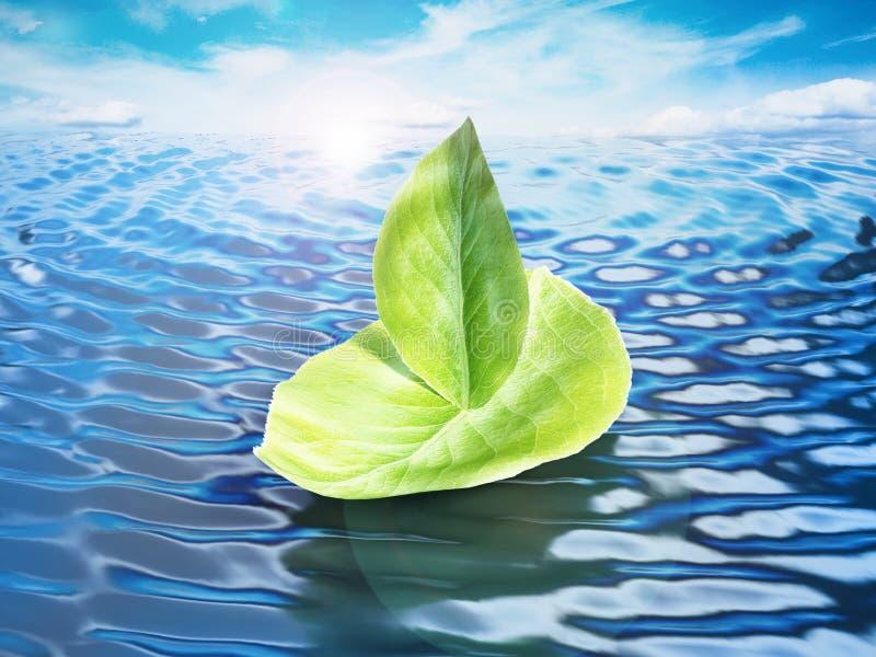 Le vert laisse former un bateau flottant sur le niveau de la mer illustration 3D illustration libre de droits