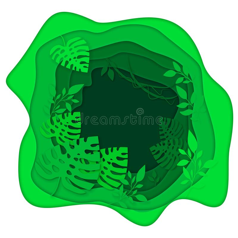 Le vert laisse l'illustration d'été de monstera, effet de coupe de papier, peinture numérique tropicale illustration stock