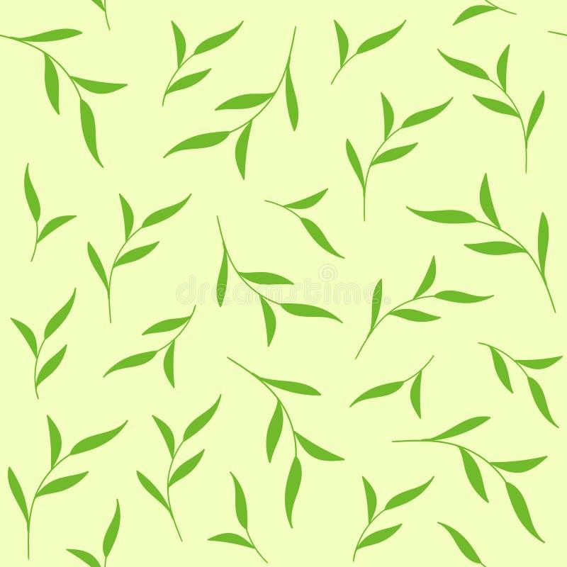 Le vert laisse la configuration sans joint Fond de vecteur pour la copie de tissu, paquet de thé illustration de vecteur