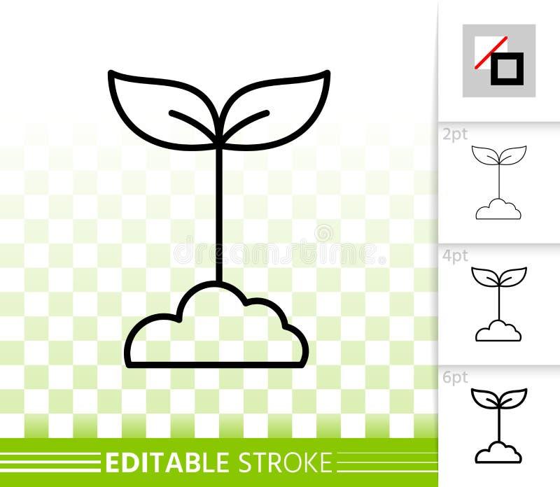 Le vert laisse la ligne noire simple icône de vecteur illustration stock