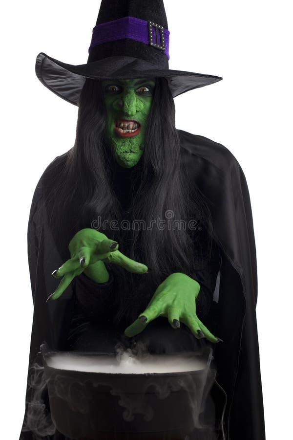 Le vert mauvais et son chaudron. image stock