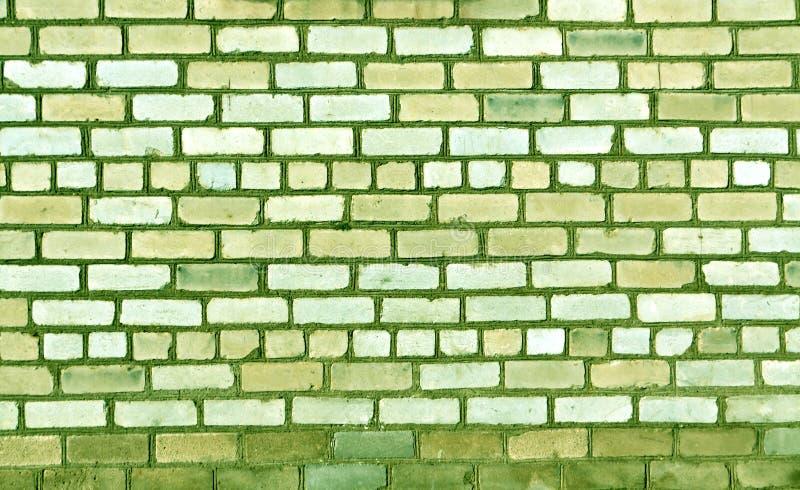 Le vert a modifié la tonalité la vieille texture de mur de briques photos libres de droits