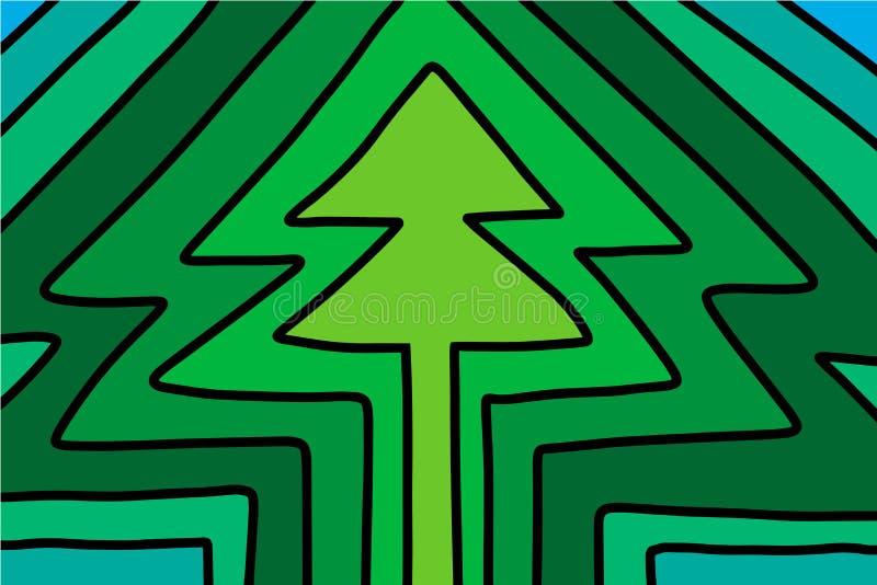 Le vert ombrage l'illustration tirée par la main de vecteur dans schéma minimalisme de style de bande dessinée illustration de vecteur