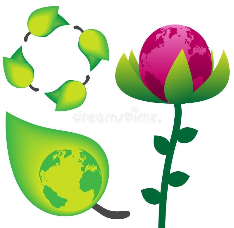 Le vert réutilisent des symboles de nature de la terre, de fleur et de lame illustration stock