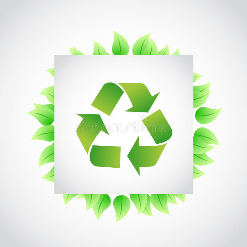le vert réutilisent l'illustration de feuilles de signe illustration libre de droits