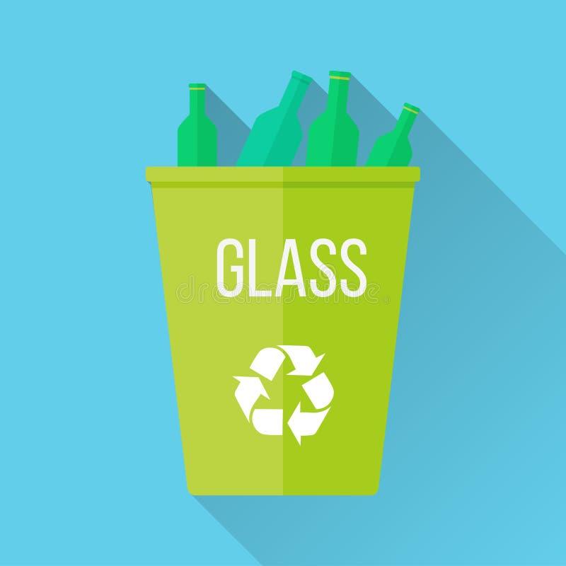 Le vert réutilisent la poubelle de déchets avec le verre illustration stock