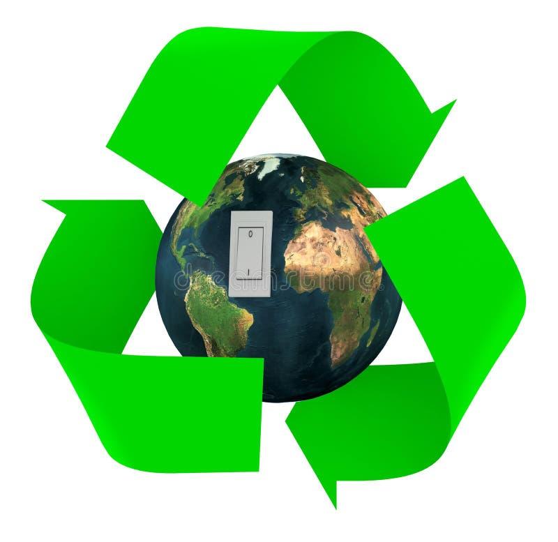 le vert réutilisent le symbole avec l'intérieur et le commutateur de la terre illustration libre de droits