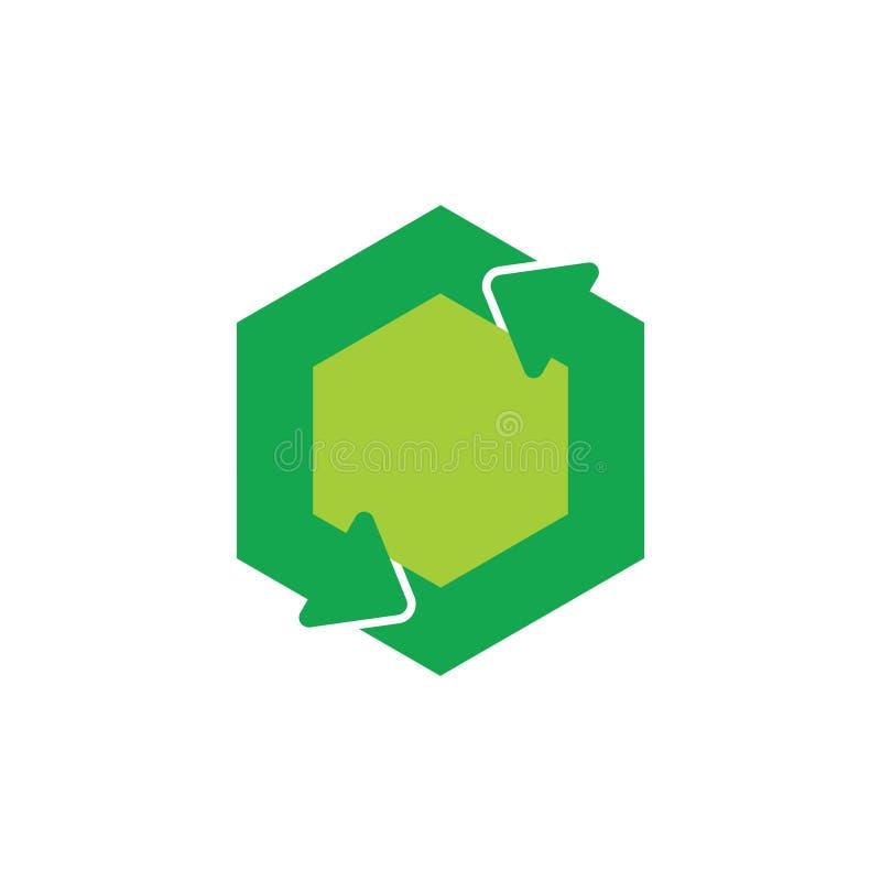 Le vert réutilisent le vecteur hexagonal de logo de symbole de flèche de cercle illustration stock