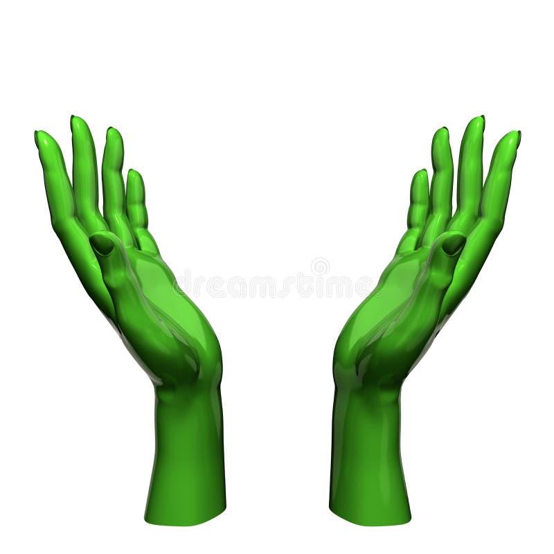 Le vert remet le concept de protection illustration de vecteur
