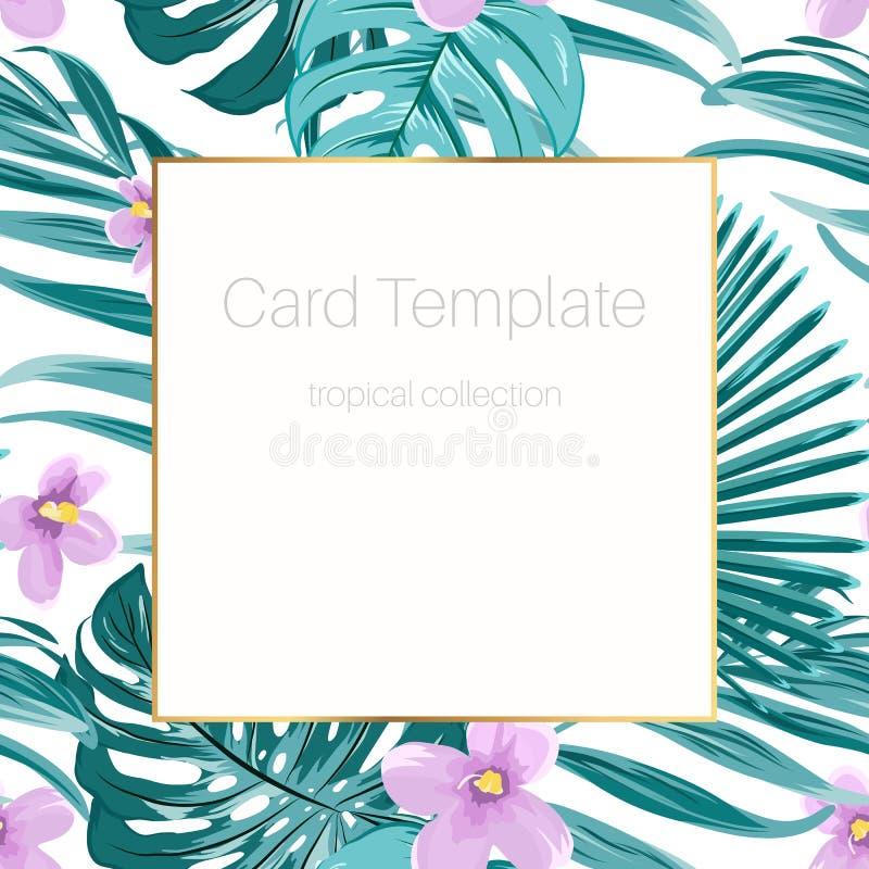 Le vert tropical de calibre de carte laisse des fleurs d'alto illustration libre de droits