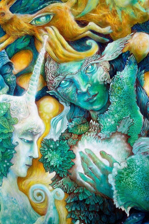 Le vert vert elven la créature dans un royaume féerique illustration libre de droits