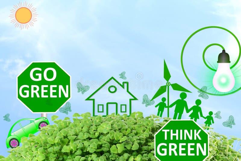 Le vert vivant pensent que le vert vert d'amour disparaissent nature verte d'abrégé sur concept à l'arrière-plan de ciel illustration libre de droits