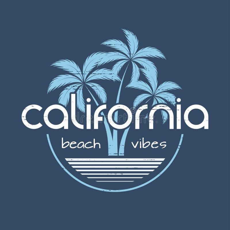 Le vibrazioni maglietta della spiaggia della California ed il vettore dell'abito progettano, stampano, royalty illustrazione gratis