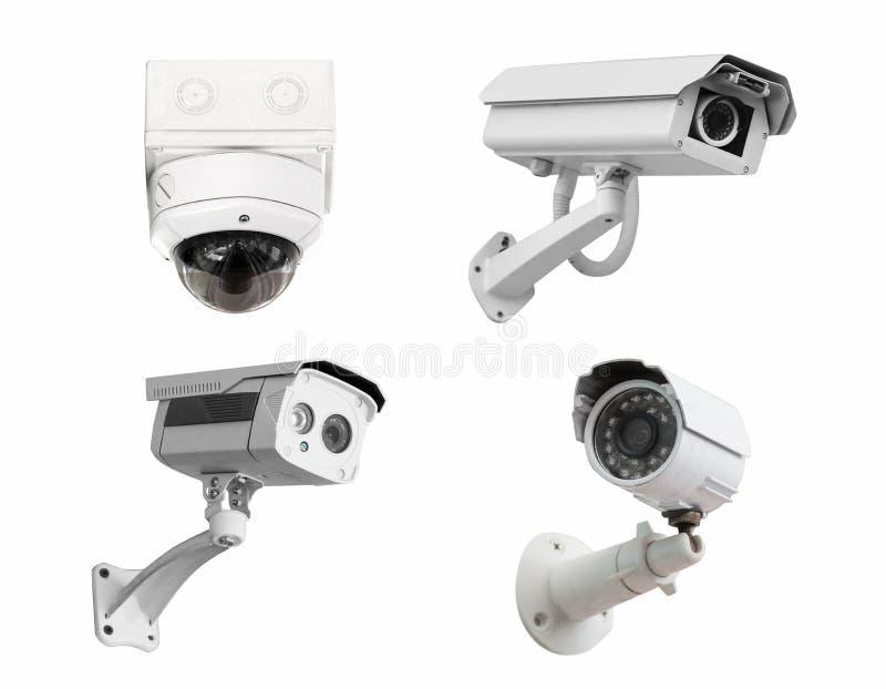 Le videocamere di sicurezza del CCTV hanno isolato il fondo bianco Con il taglio della p immagine stock libera da diritti