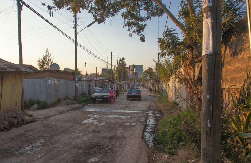 Le vie di Addis Ababa Ethiopia fotografia stock libera da diritti