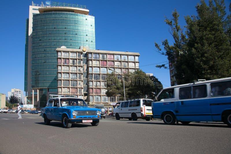 Le vie di Addis Ababa Ethiopia immagine stock
