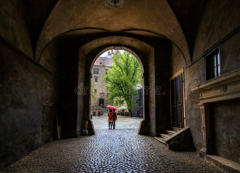 Le vie di Cesky Krumlov Repubblica ceca fotografia stock libera da diritti