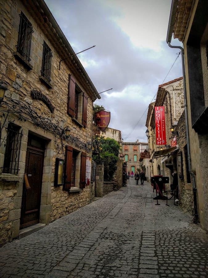 Le vie di La citano, Carcassonne, Francia immagini stock