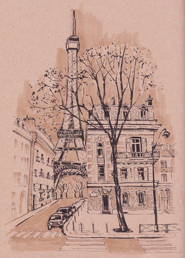 Le vie di Parigi Schizzo urbano royalty illustrazione gratis