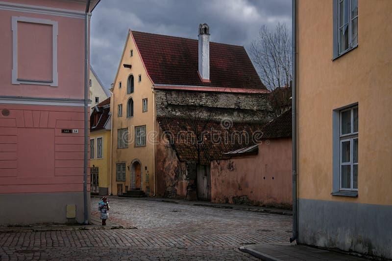 Le vie di vecchia Tallinn fotografia stock
