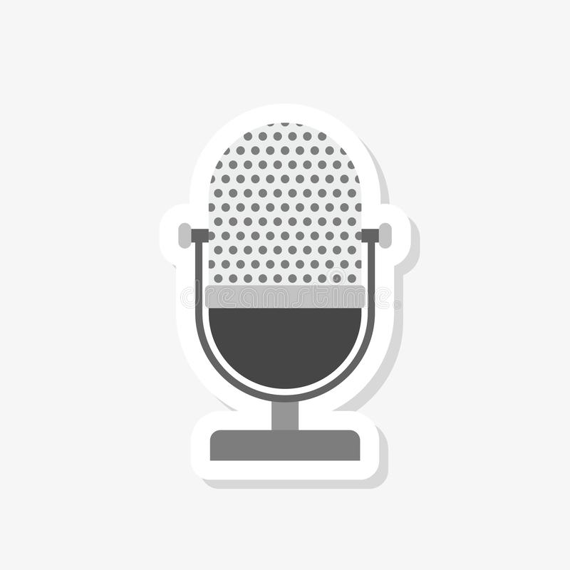 Le vieil autocollant de microphone, MIC a rempli signe plat pour le concept et la conception web mobiles illustration de vecteur