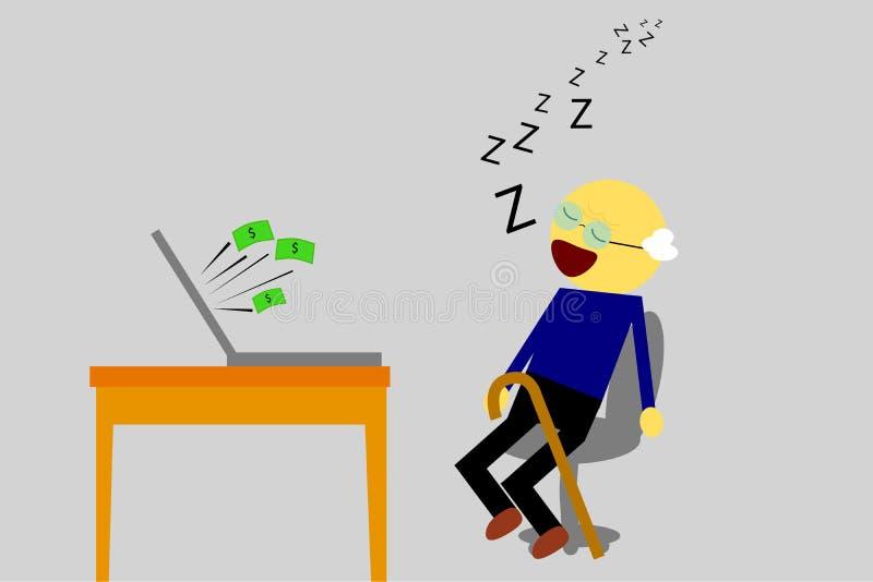 Le vieil homme de sommeil, obtiennent gagnent à partir de l'ordinateur illustration libre de droits