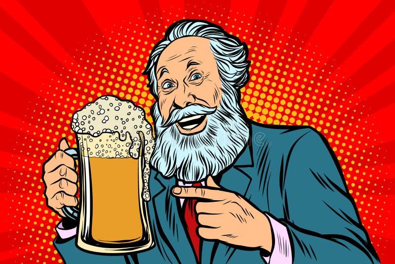 Le vieil homme de sourire avec une tasse de bière écument illustration stock