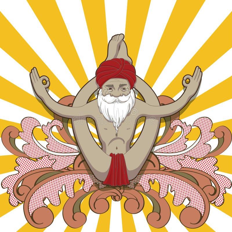 Le vieil homme de sourire heureux font à pratique un yoga illustration libre de droits