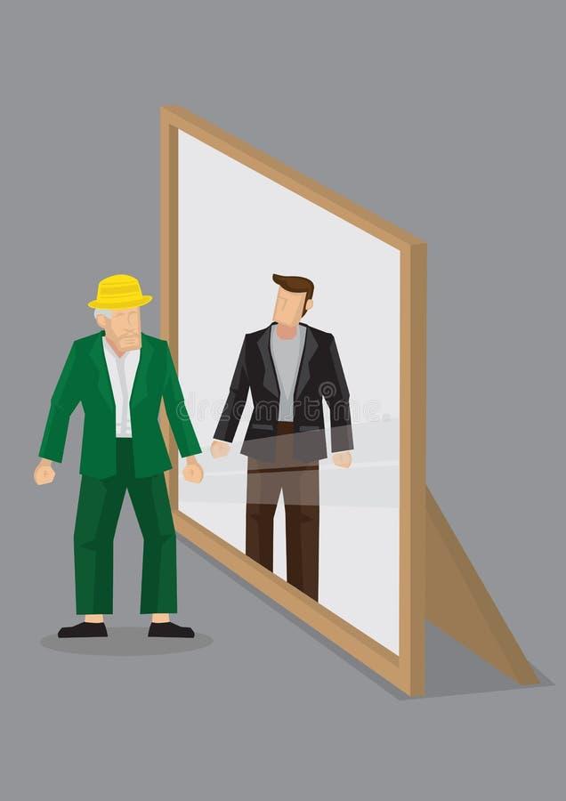 Le vieil homme se voit comme jeune homme dans le vecteur Illus de bande dessinée de miroir illustration libre de droits