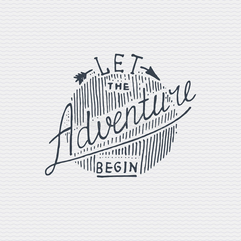 Le vieil logo ou insigne de vintage, le style tiré par la main gravé et vieux de label avec le lettrage ont laissé l'aventure com