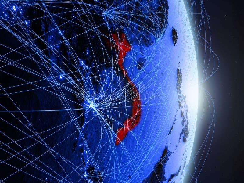 Le Vietnam sur la terre numérique bleue bleue images stock