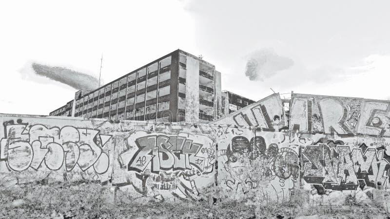 Le vieux bâtiment de force de colis derrière des hydromels Bristol de temple photographie stock libre de droits