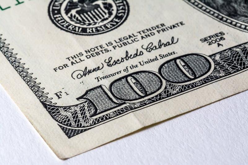 Le vieux billet d'un dollar des USA $100 image stock