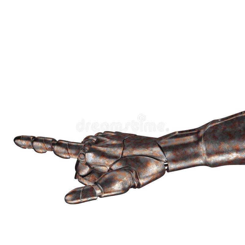 Le vieux bras de robot est rayé rendu 3d Sur un fond blanc images stock