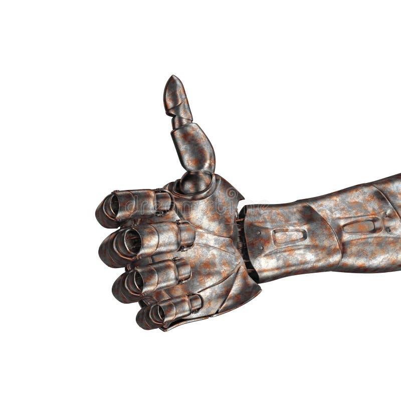 Le vieux bras de robot est rayé rendu 3d Sur un fond blanc photographie stock