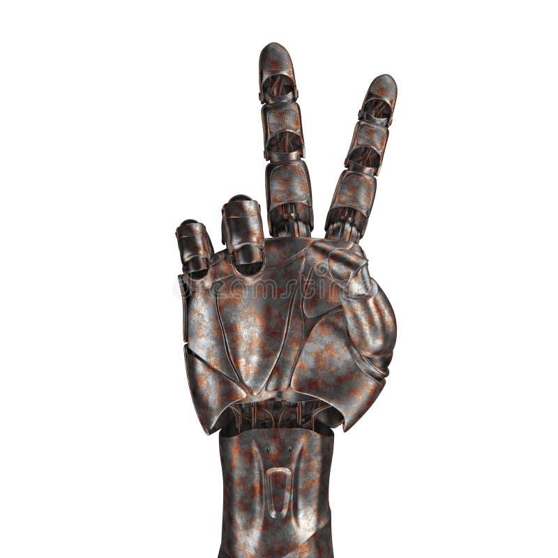 Le vieux bras de robot est rayé rendu 3d Sur un fond blanc image libre de droits