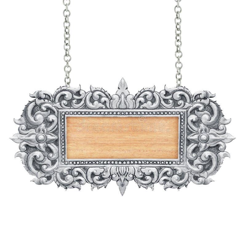 Le vieux cadre décoratif de signe avec la chaîne - faite main, gravé - d'isolement sur le fond blanc image stock