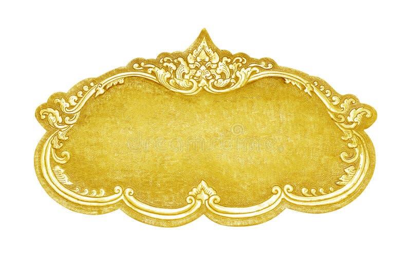Le vieux cadre d?coratif d'or - fait main, grav? - d'isolement sur le fond blanc images stock