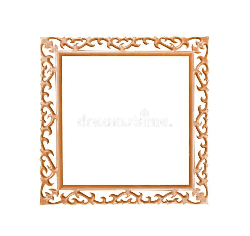 Le vieux cadre de tableau en bois brun avec le bord de découpage de coeur a formé des modèles d'isolement sur le fond blanc avec  photographie stock