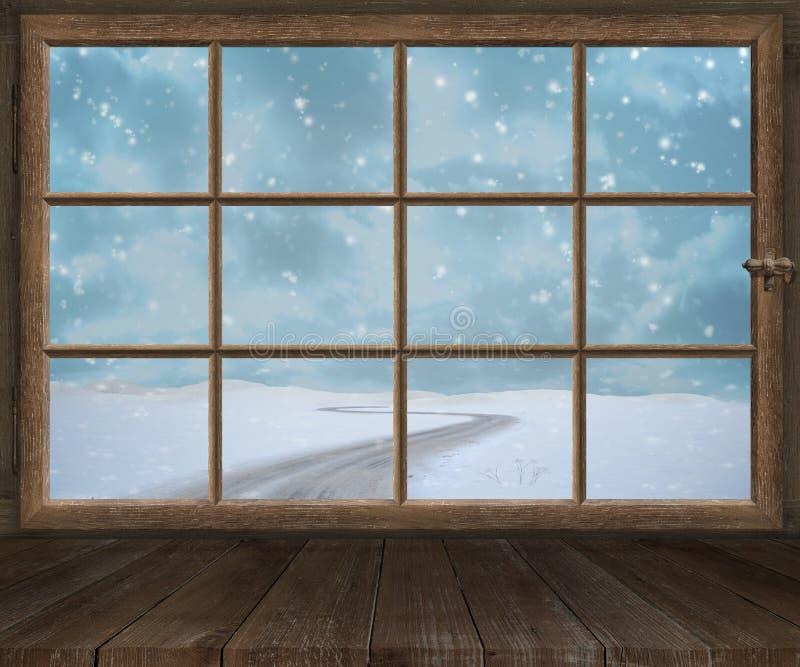 Le vieux châssis de fenêtre en bois de fenêtre pousse Noël d'hiver photo libre de droits
