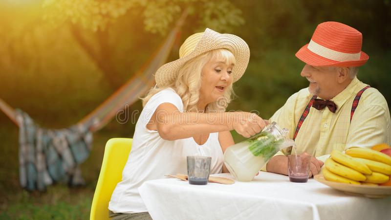 Le vieux couple boit de la limonade froide dans le jardin d'été photo stock