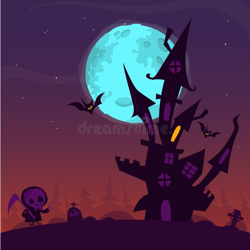 Le vieux fantôme effrayant a hanté la maison avec le cimetière et la mort de marche illustration libre de droits